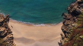 Porthcurno, Cornovaglia Sandy Beach da sopra Immagine Stock Libera da Diritti