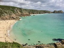 Porthcurno Cornwall England. Most beautiful beach in uk Stock Image