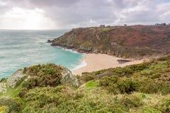 Porthcurno in Cornwall england uk. Royalty Free Stock Photos
