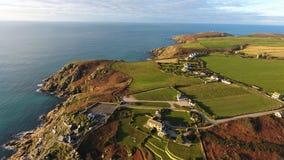 Porthcurno, Cornwall półwysep i linia brzegowa od above, Obraz Stock