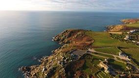 Porthcurno, Cornwall półwysep i linia brzegowa od above, Obraz Royalty Free
