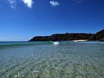 Porthcurno från havet Royaltyfri Bild