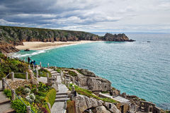 Porthcurno From The Minack. Overview of Porthcurno beach from the Minack Theatre in Cornwall Stock Photo
