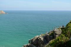 Porthcurno plaża Obrazy Royalty Free
