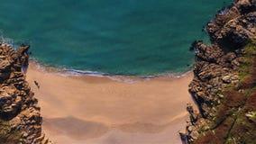 Porthcurno, spiaggia di Cornovaglia da sopra Fotografie Stock