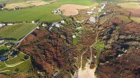 Porthcurno, valle di Cornovaglia e spiaggia da sopra Immagine Stock Libera da Diritti