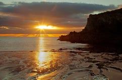 Porthdafarch Beach at sunset Royalty Free Stock Image