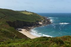 Portheras Cove Cornwall secluded beautiful beach on the Cornish coast Royalty Free Stock Photo