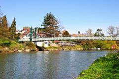 Porthill Suspension Bridge, Shrewsbury. Royalty Free Stock Images