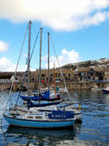 Porthleven Harbour - Cornwall. Boats moored in the inner harbour of Porthleven in south west Cornwall Royalty Free Stock Image