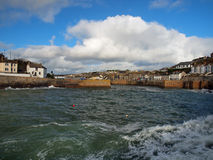 Porthleven Harbour Cornwall. The entrance to the harbour in the Cornish village of Porthleven Royalty Free Stock Photos