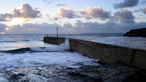Porthleven harbour stock footage