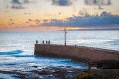 Porthleven zmierzch Cornwall Anglia Zdjęcie Stock