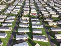 Caravan and camping, static home aerial view Royalty Free Stock Image