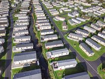 Caravan and camping, static home aerial view Stock Image