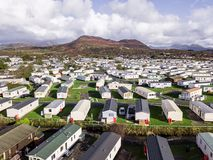 Caravan and camping, static home aerial view Stock Photos
