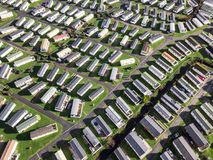 Caravan and camping, static home aerial view Royalty Free Stock Images
