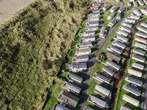 Caravan and camping, static home aerial view Royalty Free Stock Photos