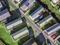 Caravan and camping, static home aerial view Royalty Free Stock Photography