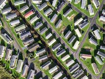 Caravan and camping, static home aerial view Royalty Free Stock Photo