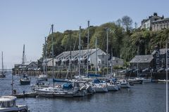 Porthmadog, Wales, the UK - some boats in the port. This image shows a view of some boats in a port in Porthmadog, Wales, the UK. It was taken on a sunny day in Royalty Free Stock Photos