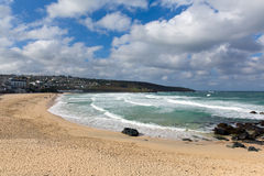 Porthmeor beach St Ives Cornwall England with white waves Stock Photo