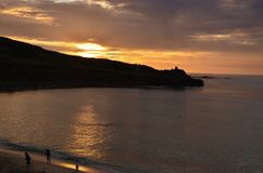 Porthmeor sunset. Sunset over porthmeor cornwall Royalty Free Stock Images