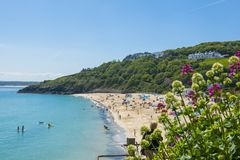 Porthminster Beach in St Ives England. A view of the Porthminster Beach in St Ives, Cornwall, England Stock Photos
