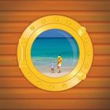 porthole понедельника мальчика стоковые изображения rf