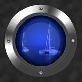 Porthole. A view of two boats trough a porthole Stock Images
