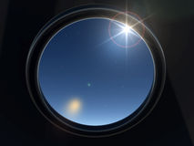 Porthole. With a kind on nightly sky, covered stars vector illustration