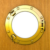 Porthole. Illustration of a closed gilded porthole in a wooden cabin wall Royalty Free Stock Image