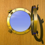 Porthole. Illustration of an open gilded porthole in a wooden cabin wall Royalty Free Stock Photos