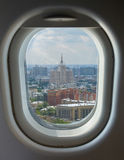 Porthole and aerial view of the Moscow. Porthole and landmark, aerial view of the Moscow, summer sunny day Royalty Free Stock Photos