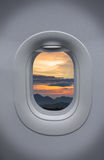 The Porthole of airplane and beautiful sky Royalty Free Stock Image