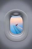 The Porthole of airplane and beautiful sky Stock Image