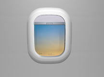 Porthole. Airplane window. View on blue sky from Airplane window Stock Images