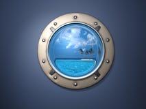 Porthole And Island Royalty Free Stock Photos