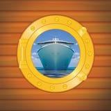 Porthole cruise liner royalty free stock image