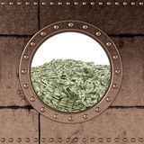 Porthole - dollar bills Royalty Free Stock Photography