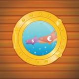 Porthole dollar euro fish. Big eats small Stock Image