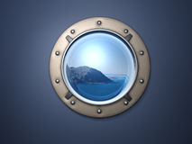 Porthole and earth. Ship metal window and far far earth Stock Images