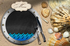 Porthole for Fish Menu in a Beach Royalty Free Stock Image