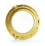 Porthole gold. On a white background Stock Photography