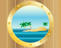 Porthole with island Royalty Free Stock Image