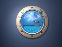 Porthole and island. Ship metal window and far far island Royalty Free Stock Photos
