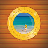 Porthole mon and boy royalty free stock images