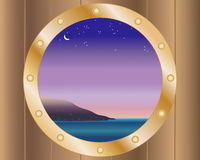 Porthole with night sky Royalty Free Stock Images