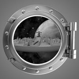 Porthole overlooking the spacecraft Stock Photos
