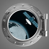 Porthole overlooking the spacecraft Royalty Free Stock Photo
